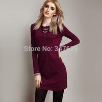 women casual winter dresses sexy hollow out sheath new 2014 autumn above knee dress long sleeve o-neck pencil office dress 5XL