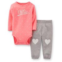 2014 Original Carter's Baby Girls Red Cute Bodysuit Loving Heart Pant Set, Carters Clothing Set,  Freeshipping