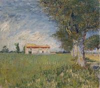 Original(Van gogh) Art print reproduction on canvas wall decor Wheat and farmhouse
