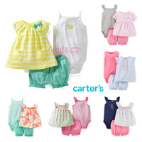 2014 New, Original Carter's Baby Girls Cute 2-pieces Diaper Cover Dress Cardigan Set , Baby Girls Summer Clothes, Freeshipping