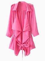 2014 Summer Autumn New Hot Women Simple Fashion Pink Chiffon Long Blazer Trench Coat With Belt Outwear