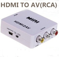 Free shiping Mini HD Video Converter Box HDMI to AV/CVBS L/R Video Adapter 1080P HDMI2AV Support NTSC and PAL Output