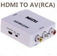 Free shiping Mini HD Video Converter Box HDMI to AV/CVBS L/R Video Adapter 1080P HDMI2AV Support NTSC and PAL Output