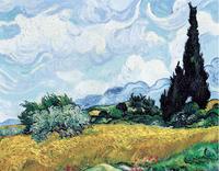 Original(Van gogh) Art print reproduction on canvas wall decor wheat in Cypress