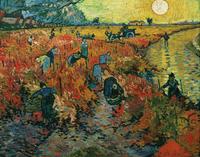 Original(Van gogh) Art print reproduction on canvas wall decor red Vineyard