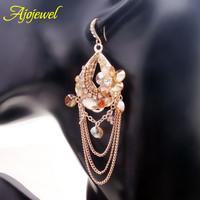 Long tassel bohemia girls earrings gold plated handmade champagne crystal beads flower design drop earrings for women