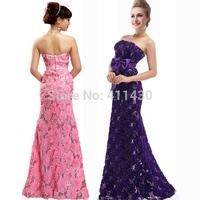 Plus size long strapless paillette formal evening  dress 2014 new arrival lace flower long design fish tail party dresses