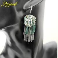 Brinco tassel bohemia style green crystal bead earrings handmade fashionable earings for women