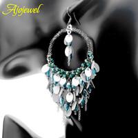 2014 luxury big round shaped rhinestone crystal acrylic earrings bohemian blue chandelier earrings for women