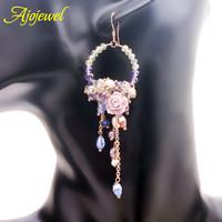 2014 luxury bridal earrings crystal flower drop earrings long sweet chandelier earrings  for women