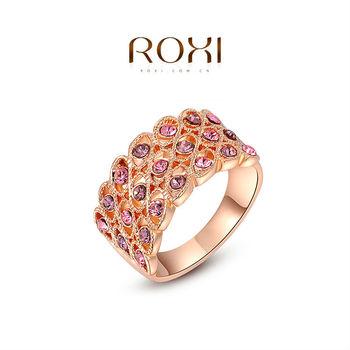 Roxi мода женские украшения высокое качество элегантный кольцо розового золота круглый павэ топ рич австрийские кристаллы