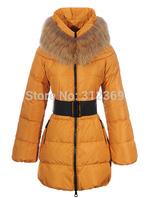 Fur Collar Lady Down Jacket Blue Yellow Red Khaki Black Women Down Parkas High Quality Women Winter Warm Long Down Coat