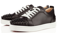 Women High quality Latest Fashion Flat Black Leather Spikes sneakers Men's shoes
