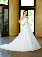 Custom Made Sweetheart Sleeveless From Organza And Lace Floor - Length Dream Wedding Dress 2014