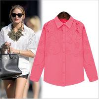 Hot sale 2014 fashion brand women autumn casual shirts female long sleeve lady cotton colorful blouses plus size shirt Y14CCC096