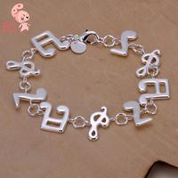 Hot Sale New Fashion Plated Sterling silve Music Note  Bracelet for women  Wholesale KUNIU242
