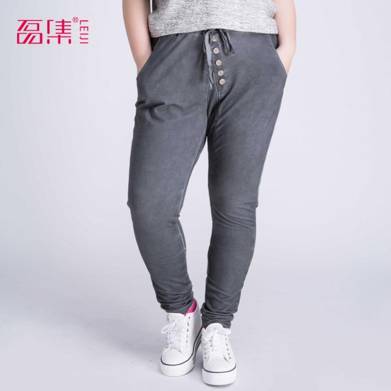 2014 New Casual Women Trousers Button Decoration Harem D