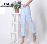 New Women's Cotton Linen Blended Pants & Capris Casual Pants Women Plus Size Pencil Trousers Black White Pants XXXL AW14P019