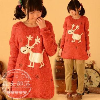 Свитер с ограниченной свитера сен женский племенной женщины Hitz 2014 японский линия благоприятный олень милый мультфильм шерстяные рубашки дна