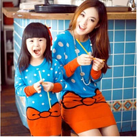 Family Fashion Clothes For Mother And Daughter Autumn Winter Long Sweater Bow One-Piece Dress Thickening Base Shirt