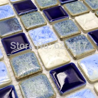Deep Blue branco da porcelana polido telhas cerâmicas HMCM1009D mosaico banheiro telha da cozinha backsplashl telhas ladrilhos de parede(China (Mainland))