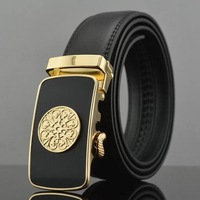 2014 men's genuine leather belt classic gold SUN buckle belts men