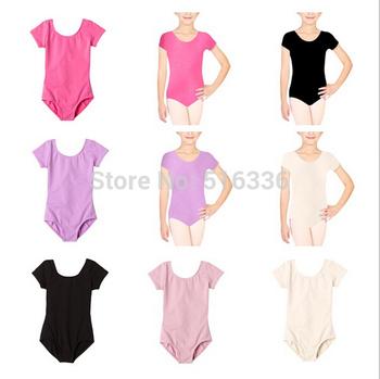 2014 новые дети девочки Dancewear с коротким рукавом балетный костюм боди купальники хлопок балета одежда для девочек