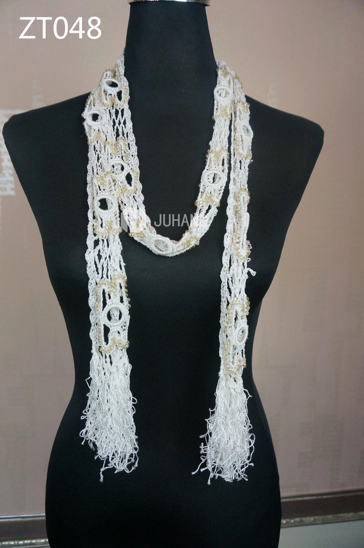 Free Shipping Women's Fashion Beading Flowers Hand Crochet Scarf(China (Mainland))