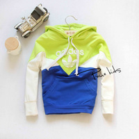 Children's clothing spring clothes hoodie child color block decoration outerwear male female child long-sleeve sweatshirt 100%