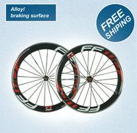 alloy braking surface wheels, 60mm clincher bicycle wheels 700c carbon fiber road bike racing wheelset