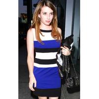 A free shipping Women Celeb Fshion New Modern Color Mapping Stripe Dresses