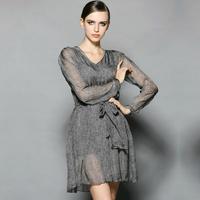 silk women work wear summer dress  ol fashion plus size xl pullovers vintage sexy slim fit loose casual twinset dresses