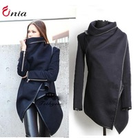 new 2014 autumn and winter women clothes Slim plus size Trench temperament woolen coat windbreaker jacket # 6710 S-XXL