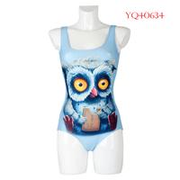 Hot Summer 2014 Women Sport Swimwear One Piece Swimsuit The Owl Digital Printing Sleeveless Women Beach Dress YQ40634