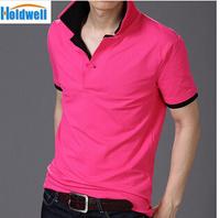 Freeshipping collar lapel Wireless Mens T Shirt men's short Sleeve t shirt slim 5pcs