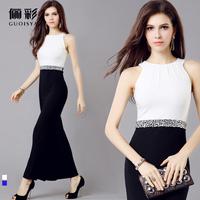 Brand Guoisya Long Black Evening Dress Korean Female Annual Meeting Toast Diamonds Prom Gown Slim Lady Dresses