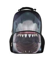 2014 Big Sale 3D Animal Felt Backpack Men's Backpack Shark School Backpack Bag Men Travel Backpacks College Student Bookbag  B30
