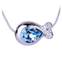 CDE Vogue Fish Crystal Pendant Necklace Fashion Jewellery Collar Necklace Made with Swarovski Element