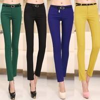 fashion 2014 Spring new Korean Slim feet pencil casual skinny pants with belt