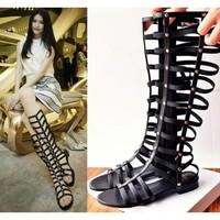 2014 cool boots female flat gladiator bandage high sandals cutout female long boots
