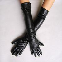 Women's faux leather long gloves ultra long belt long design Synthetic Leather fashion women's leather gloves women 40 50cm,X924
