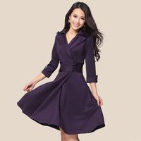 2014 spring and autumn women's ol slim waist slim elegant three quarter sleeve big skirt plus size one-piece dress purple