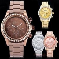 Fashion Geneva Quartz Watch Women Stainless Steel Watch Ladies Casual Rhinestone Watch Relogio Feminino Women Dress Watch