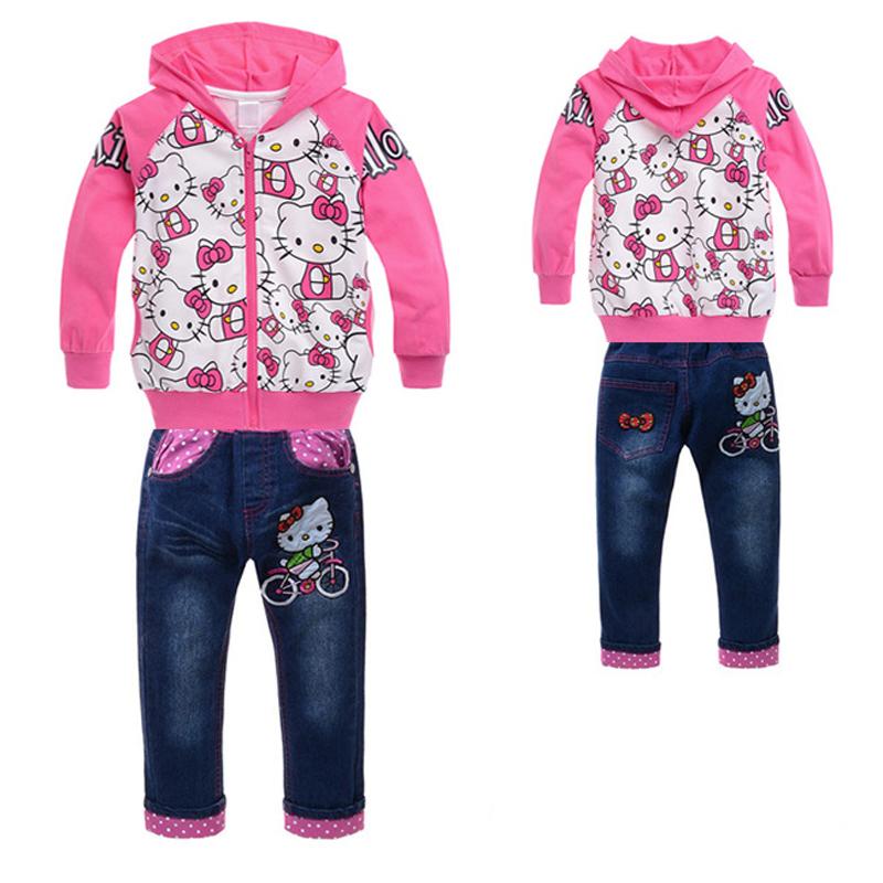 Fashion Girls Hello Kitty Clothing Sets Hoodies+Jeans Pants Children Kids Cartoon Suits Babys Girls Sets(China (Mainland))