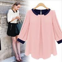 Fashion summer brand 2014 lady cotton chiffon puff sleeve shirt women casual o-neck was thin blouses plus size female Y14XUX187