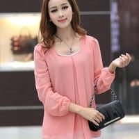 XL XXL XXXL 4XL 2014 New Summer Hot Sale Plus Size Women Long Sleeve Blouse Casual Pink Elegant Fashion Blusa Tops Shirt Korean