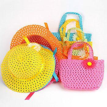 Новый летнее солнце шляпа дети девочек-бич головные уборы цветок соломенная шляпка Cap сумка сумка костюм бесплатная доставка