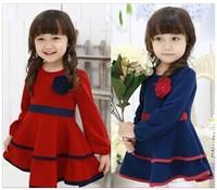 The 2014 girls fall paragraph corsage waist children dress Princess Dress