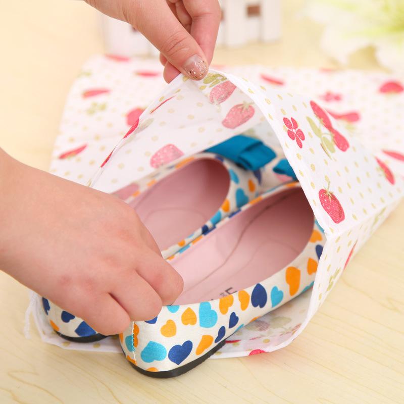 10pcs/lot Household items Travel portable drawstring shoe dust bags thicker printing woven Drawstring shoe bag storage 3909(China (Mainland))