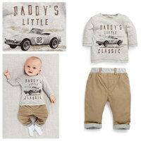 5set/lot wholesale car letter kids long sleeve t-shirt pants 2pcs set spring autumn clothes ,casaul set boy's clothes